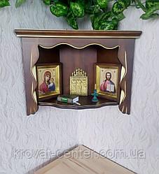 Полка для икон угловая из дерева ольха (цвет на выбор)