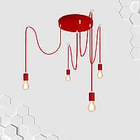 Подвесная люстра на 4-лампы CEILING/SP-4R E27 красный, фото 1