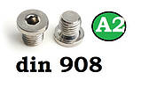 Заглушка DIN 908 M30x1.5 A2, фото 2