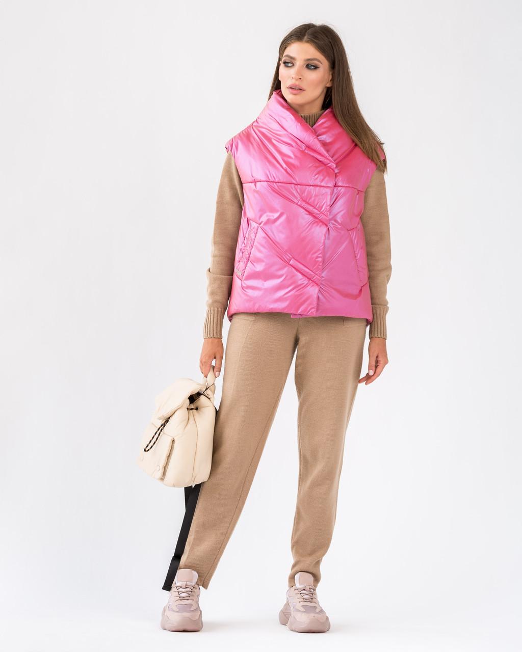 Стильний жіночий короткий жилет з плащової тканини 44-60 р
