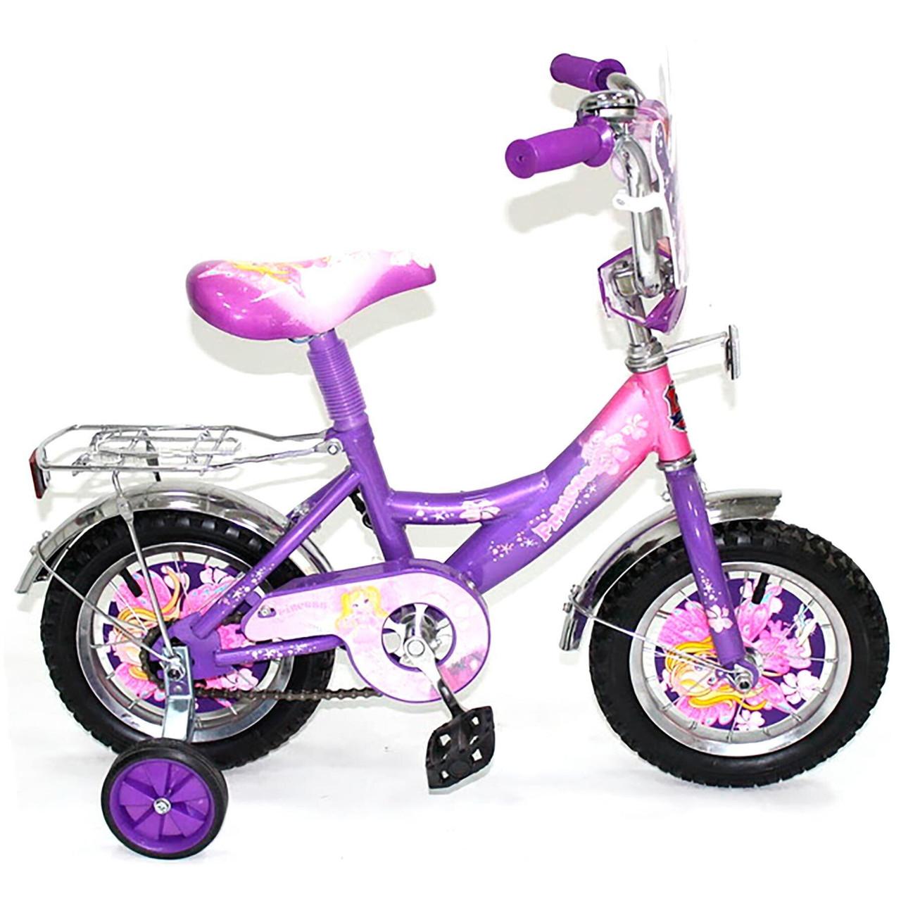 Дитячий велосипед Mustang Принцеса 12 дюймів фіолетовий