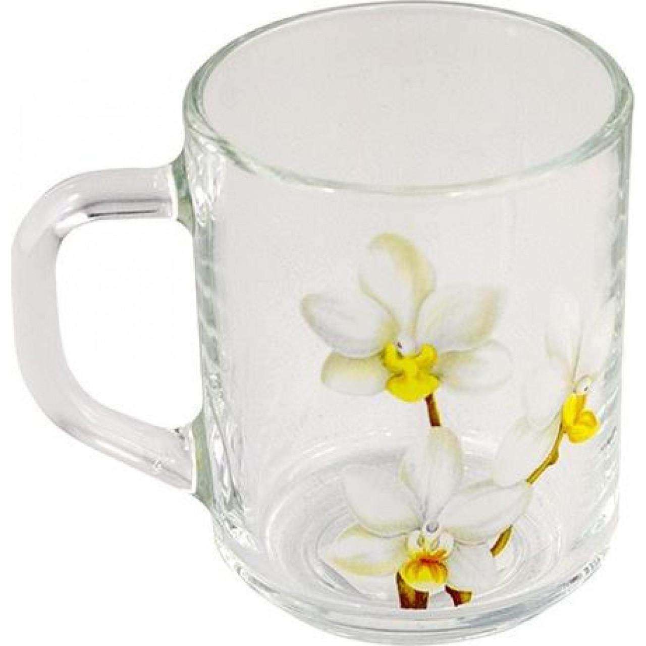 """Чашка скло 200мл """"Green Tea"""" Біла Орхідея G 2746 / Галерея /"""