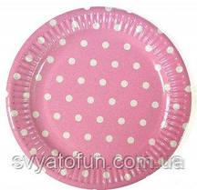 Набір тарілок рожевий Горошок 10 шт/уп