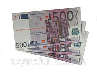 """Сувенірні гроші """"500 євро"""", бамага матова (80шт./уп.)"""