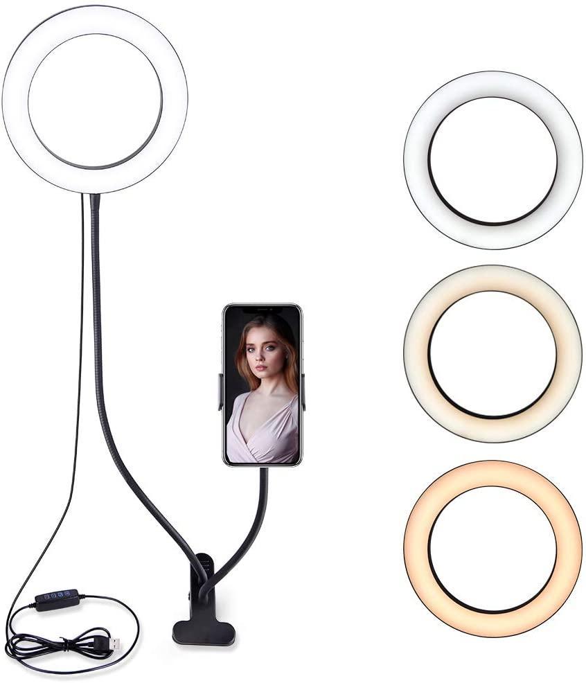 LED лампа 96 светодиодов 20 см Professional Live Stream с гибким держателем для телефона на прищепке