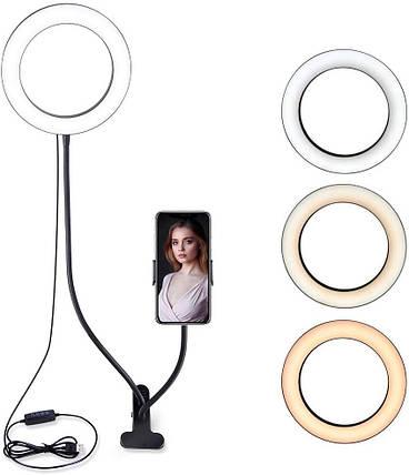 LED лампа 96 светодиодов 20 см Professional Live Stream с гибким держателем для телефона на прищепке, фото 2