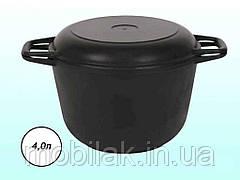 Кастрюля чавунна з кришкою-сковорідкою 4л (0204) ТМ БІОЛ