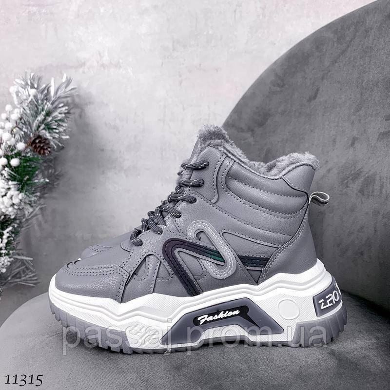 Сірі зимові черевики, кросівки маленькі розміри