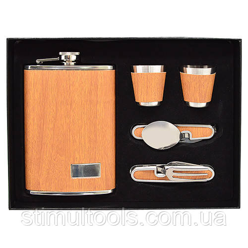 Сувенирный набор Stenson (фляга, 2 рюмки, вилка, ложка) 260 мл