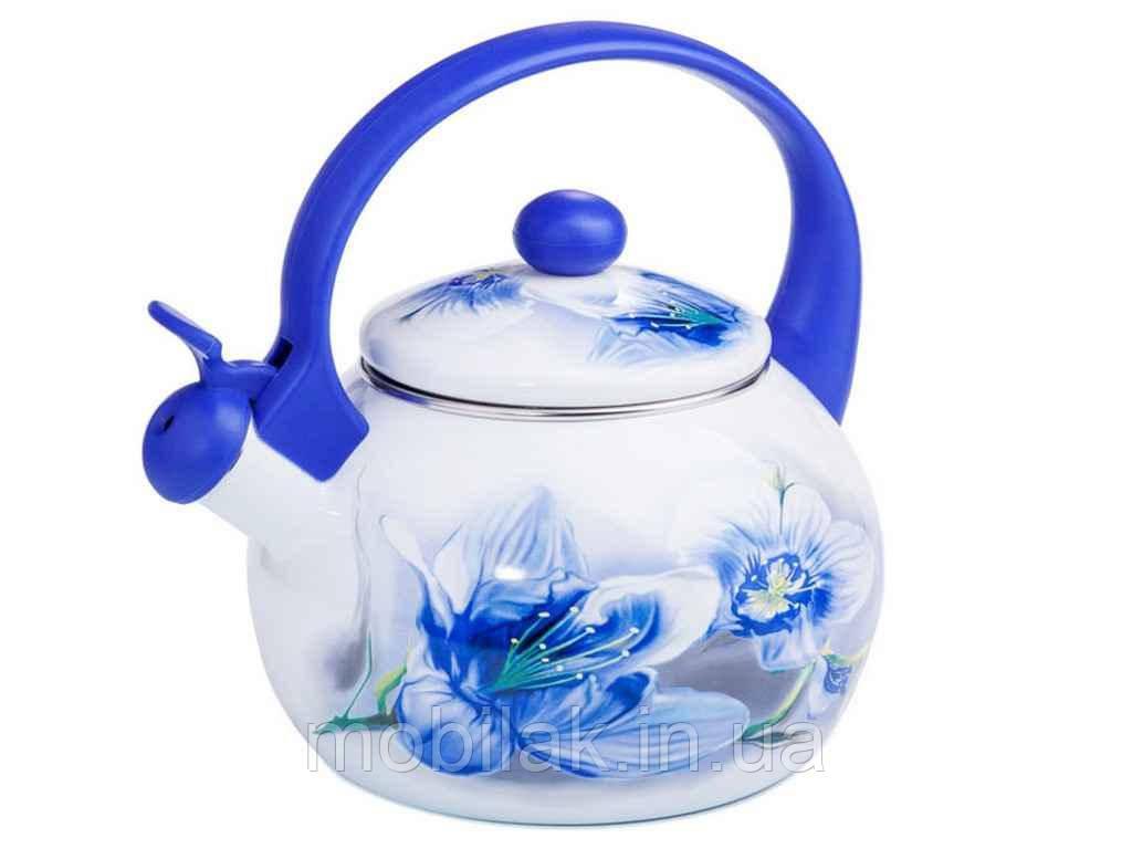 Чайник емальований зі свистком 2,2л Орхідея 09С003810L BLUE HANDLE ТМ ZAUBERG