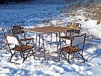 Мебель туристическая, складной стол и раскладные стулья со спинкой, для отдыха на природе, Классический ФП2Х+4