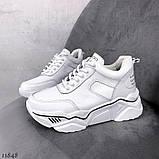 Білі кросівки на платформі з натуральної шкіри, фото 5