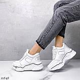 Білі кросівки на платформі з натуральної шкіри, фото 2
