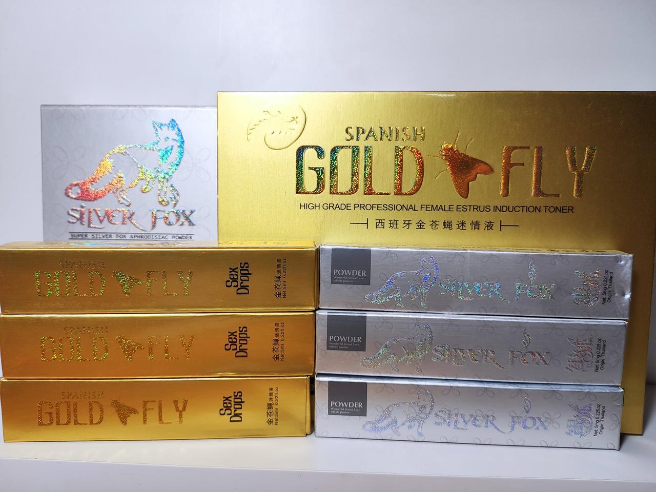 Женский возбудитель Сильвер фокс и Шпанская мушка (Spanish Gold Fly и Silver Fox ) 3+3 штук