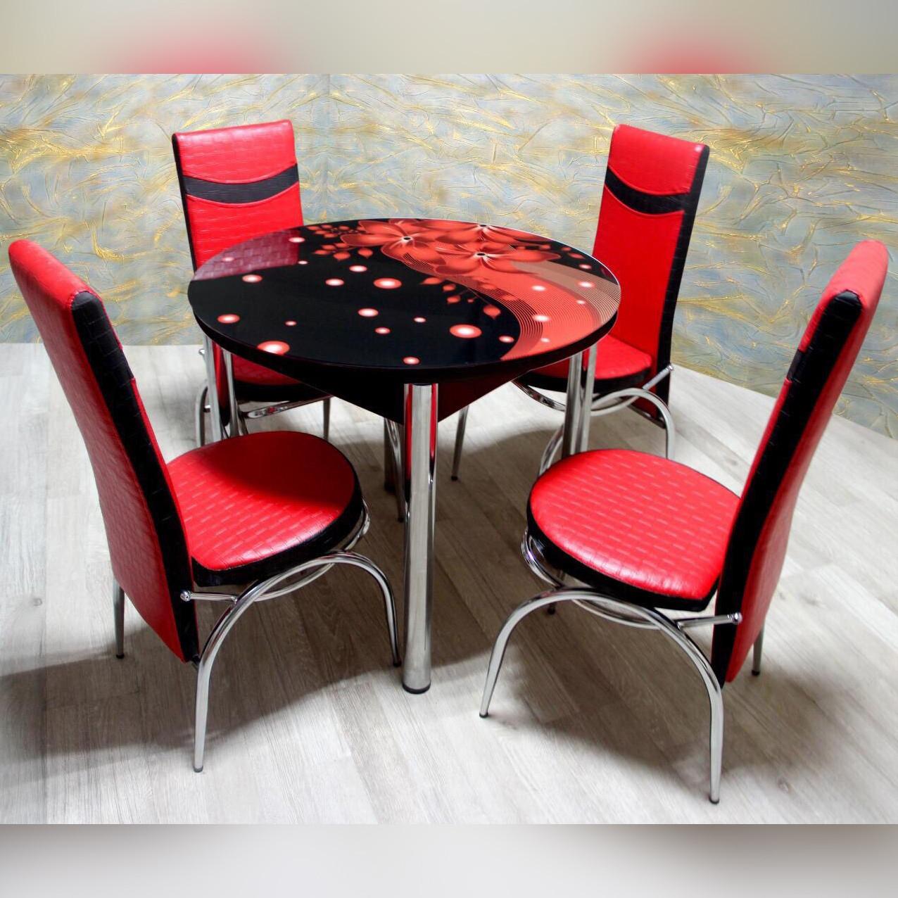 Комплект для кухні: стіл скляний  та 4 крісла з екошкіри ТУРЕЧЧИНА