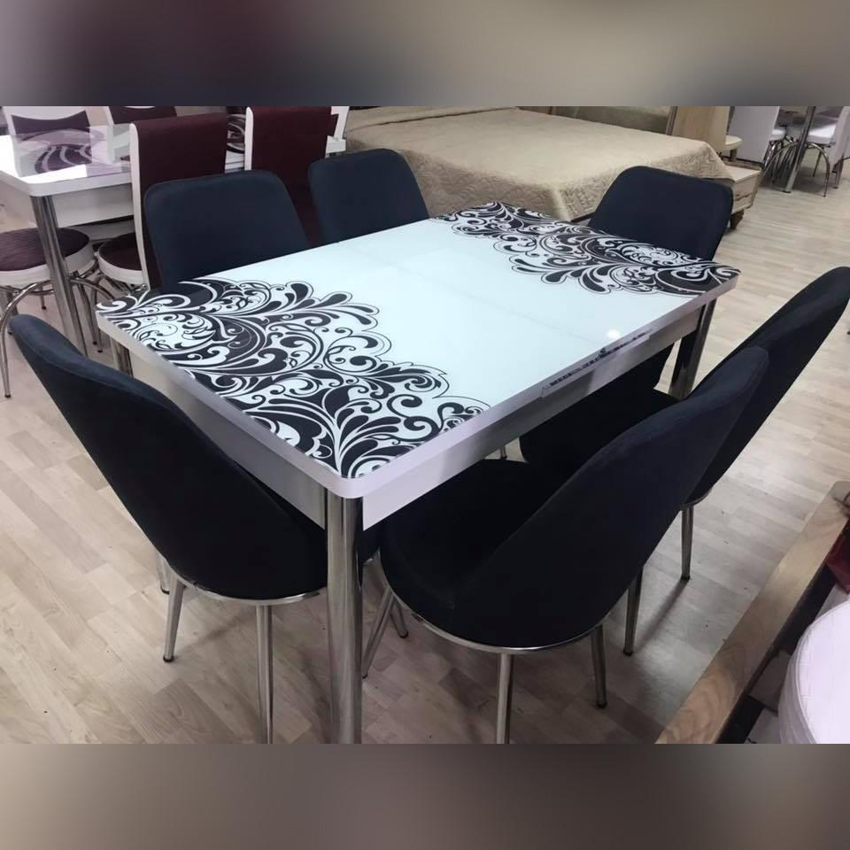 Комплект для кухні: стіл скляний розкладний та 6 крісел з екошкіри ТУРЕЧЧИНА
