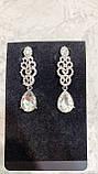 Сережки колір срібло ажурні (6,5 см), фото 3