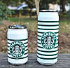 """Термос с клапаном и трубочкой """"Starbucks""""полоска  ,300 мл"""
