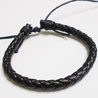 Шкіряний чорний плетений браслет фенечка.