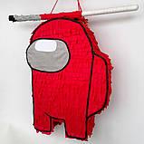 Амонг Ас Among Us пиньята бумажная для праздника Пиньята Космонавт персонаж игры белый пината амонг асик, фото 6