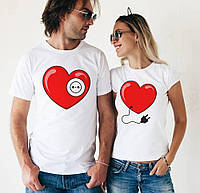 Парні футболки Серце з розеткою Немає сенсу в розетці, коли нема вилки!