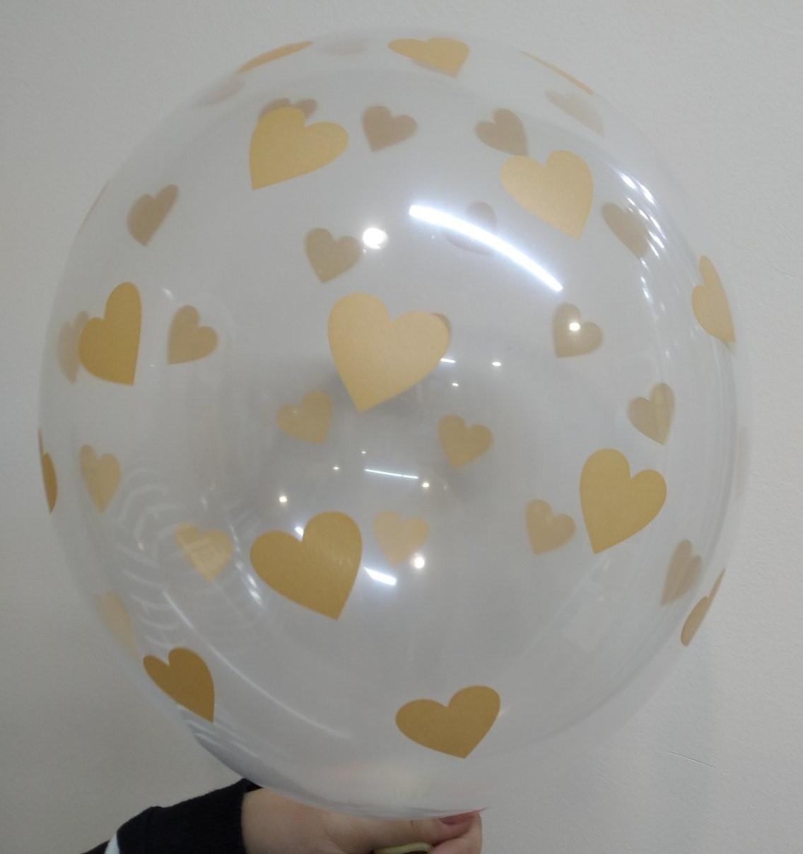 """Воздушный  шар прозрачный  с сердечками розовое золото  12"""" 30 см ( поштучно ) Бельгия  Bel bal"""