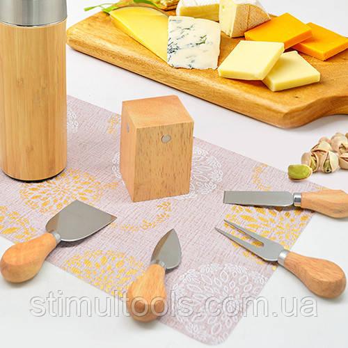 Набір ножів Stenson для сиру з підставкою 5 предметів 14*6 см