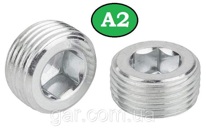 Пробка різьбова конічна М22х1.5 DIN А2 906
