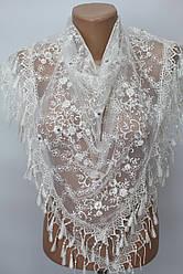 Платок молочный с камнями свадебный церковный ажурный 231007