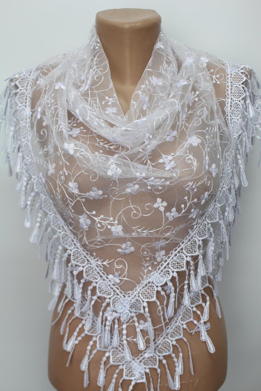 Платок белый свадебный церковный ажурный 232007