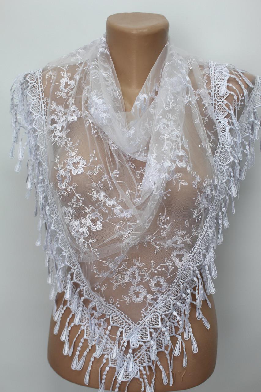 Платок белый свадебный церковный ажурный 232009