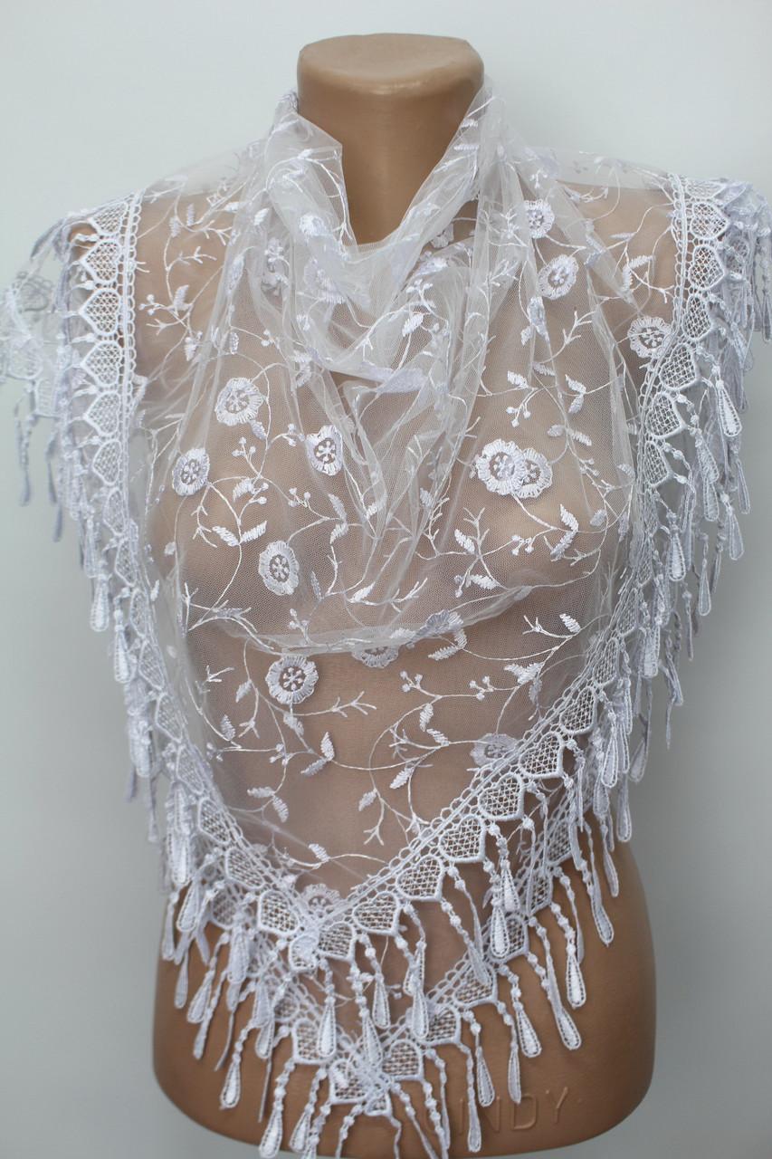 Платок белый свадебный церковный ажурный 232011