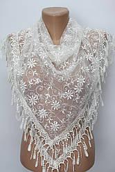 Платок молочный свадебный церковный ажурный 233005