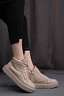 Женские ботинки кожаные весна/осень бежевые Yuves 2141 Байка