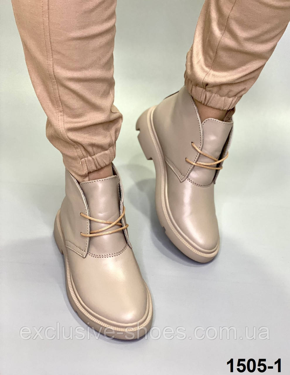 Ботинки женские демисезонные кожаные чкапучино классические на шнуровке