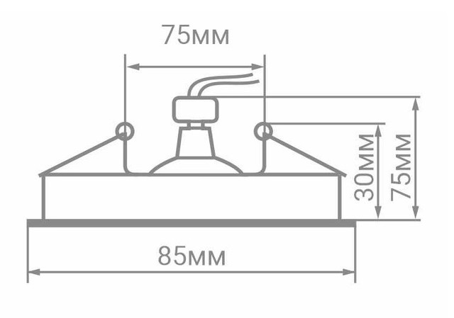 Габаритные размеры светильника Feron DL8300: 85мм х 30мм. Встраиваемое отверстие: 75мм.