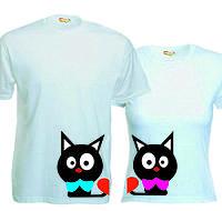 Парные футболки Киски с сердечками