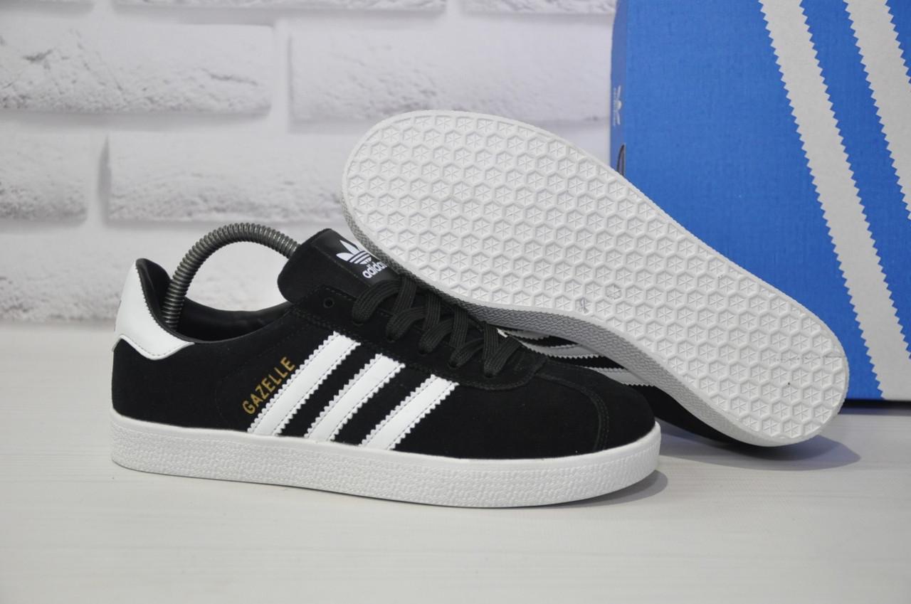 Замшеві чоловічі чорні кеди в стилі Adidas gazelle 41 розмір