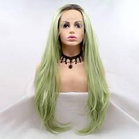 Женский парик волнистый оливково зеленый на сетке с омбре из ТЕРМОВОЛОС