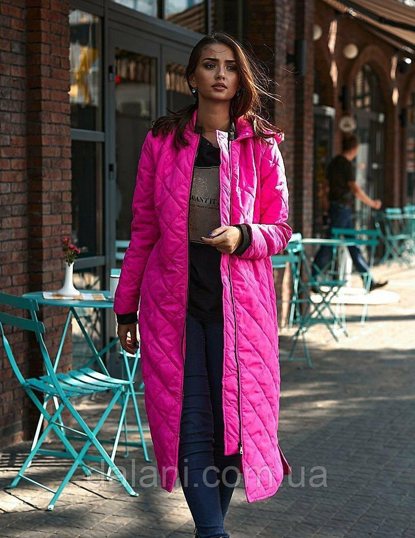 Стёганная женская розовая куртка миди с капюшоном