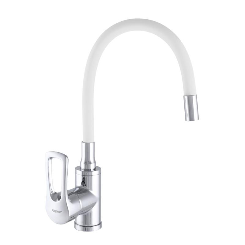 Кухонный смеситель с гиб.изивом ZERIX SAR 181 REFLECTOR WHITE
