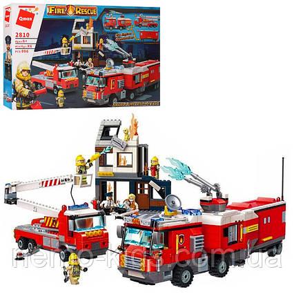 Конструктор Qman пожарная станция, здание, машины, фигурки, 996 деталей