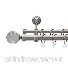 Карниз для штор металевий подвійний 25+19мм ЛЮМІЄРА Сатин нікель довжина 1.6 м.