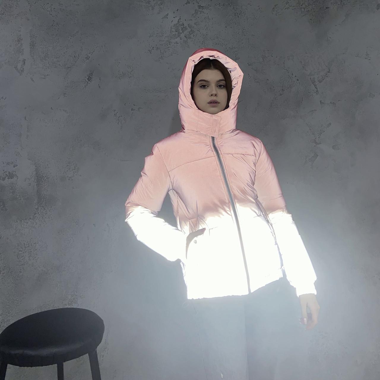 Куртка світловідбиваюча підліткова для дівчинки з двокольорового рефлективної тканини з переходом омбре
