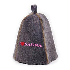 Шапка для сауны Sauna Pro с вышивкой Я люблю сауну Серая A-0487, КОД: 969369