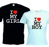 Футболка I love boy/girl