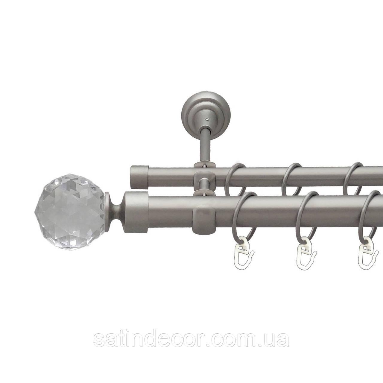 Карниз для штор металевий подвійний 25+19мм ЛЮМІЄРА Сатин нікель Довжина 2.4 м.