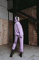 Женский стильный однотонный спортивный костюм с капюшоном (Норма и батал), фото 2