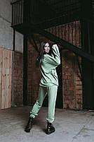 Женский стильный однотонный спортивный костюм с капюшоном (Норма и батал), фото 3