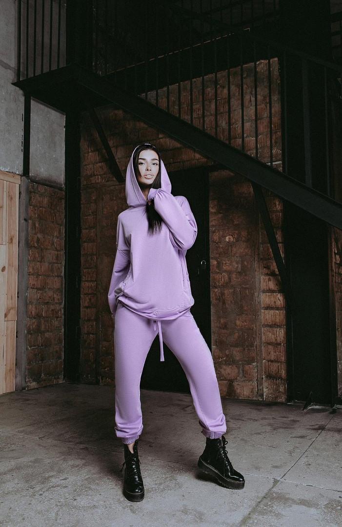 Женский стильный однотонный спортивный костюм с капюшоном (Норма и батал)